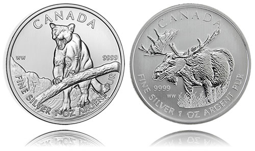 2012 Canadian Cougar and Moose Silver Bullion Coins from the Wildlife Series