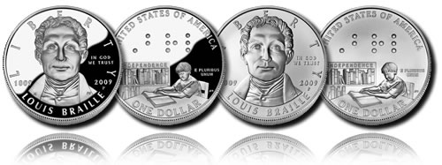 2009 Louis Braille Bicentennial Silver Dollar (Proof and Uncirculated)