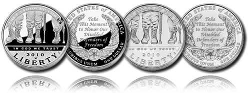 2010 American Veterans Disabled for Life Silver Dollar (Proof and Uncirculated)