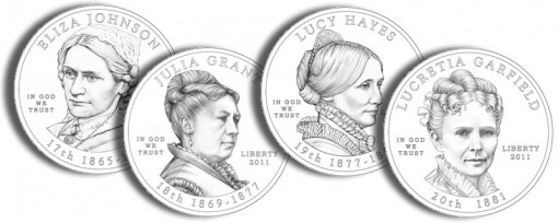 2011 First Spouse Gold Coins Line-Art (US Mint images)