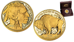 U.S. Mint image of the 2012 American Buffalo Gold Proof Coin and its case