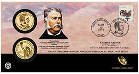 Chester Arthur Presidential $1 Coin Cover