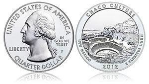 2012 Chaco Culture 5 Ounce Silver Uncirculated Coin