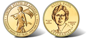 Alice Paul Suffragist Gold Coins