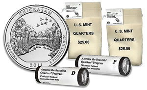 2011 Chickasaw quarter in bags and rolls