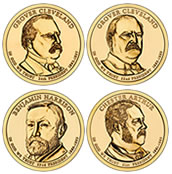 Four 2012 Presidential $1 Coins