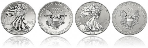 Enhanced Uncirculated Silver Eagle, Reverse Proof Silver Eagle from Two-Coin Silver Set