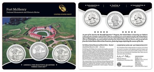 Nineteenth America the Beautiful Quarters Three-Coin Set, Fort McHenry