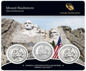 Front of Mount Rushmore Quarters Three-Coin Set