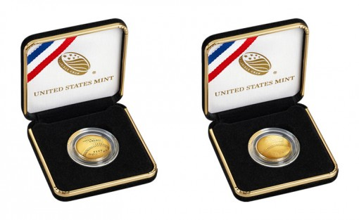 U.S. Mint images of the 2014 $5 Gold National Baseball Hall of Fame Commemorative Coins  (Proof and Uncirculated) in Cases