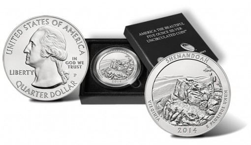 2014-P Shenandoah National Park Five Ounce Silver Uncirculated Coin