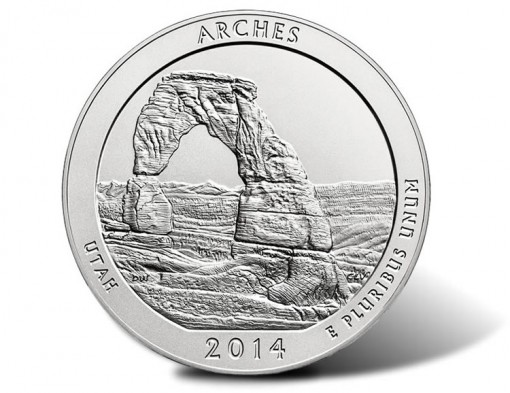 2014-P Uncirculated Arches National Park Five Ounce Silver Coin