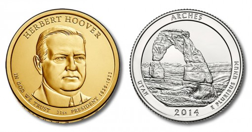 Presidential Hover $1 Coin and Arches National Park Quarter