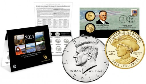 Unc. Quarters Set, $1 cover, kennedy half and gold coin