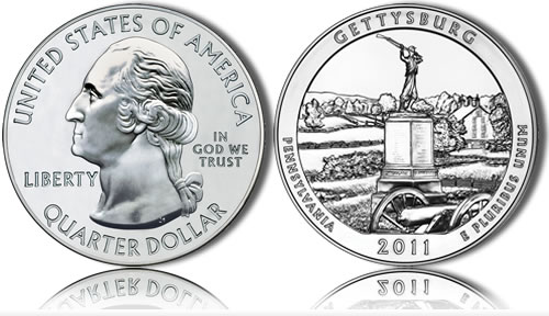 Gettysburg National Military Park Silver Coin (US Mint images)