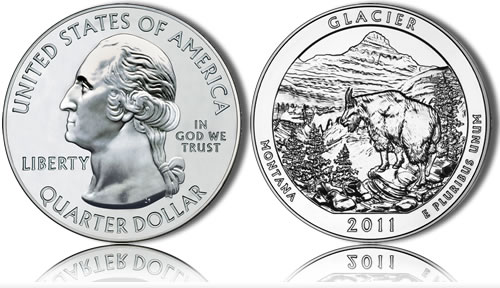 Glacier National Park Silver Coin (US Mint images)