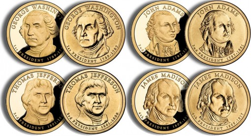 2007 Presidential $1 Coins (US Mint images)