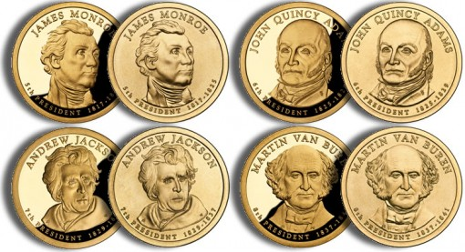 2008 Presidential $1 Coins (US Mint images)