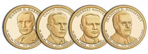 Images of Proof 2014 Presidential $1 Coins