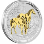 Australian Lunar Series II 2014 Year of the Horse 1oz Silver Gilded Edition