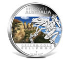 2012 Discover Australia Green and Gold Bell Frog Silver Proof Coin