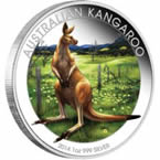 Australian Kangaroo 2014 1 oz Silver Coloured Coin