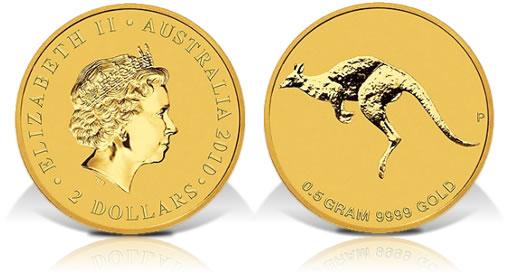 2010 Australia Mini Roo 0.5 Gram Gold Coin