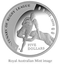 2008 Centenary of Rugby $5 Silver Proof Coin