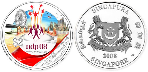 2008 Singapore 43 Years of Independence Commemorative Coins