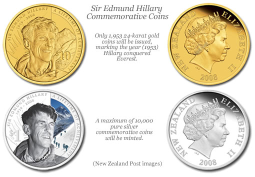 Sir Edmund Hillary silver and gold commemorative coins