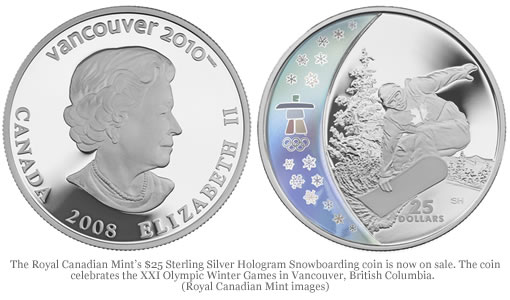 $25 Sterling Silver Hologram Snowboarding Coin from the Royal Canadian Mint