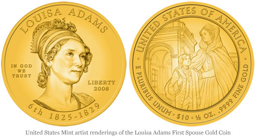 United States Mint artist renderings of the Louisa Adams First Spouse Gold Coins