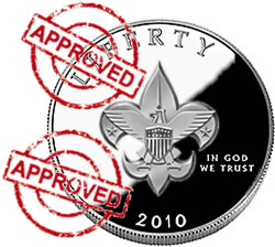 Boy Scout coin with approved stamp