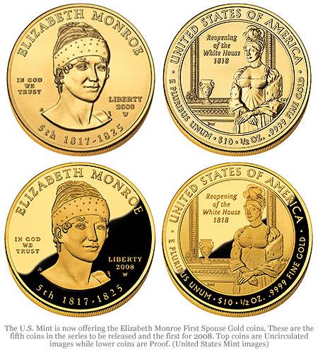 Elizabeth Monroe First Spouse Gold Coins