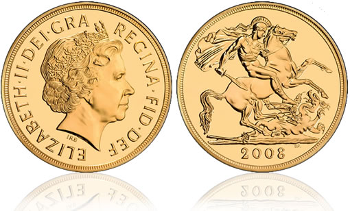 British Royal Mint 2008 UK £5 Gold Brilliant Uncirculated Coin