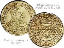 Swedish 1632 Gustav II Adolf gold Dukat gold coin