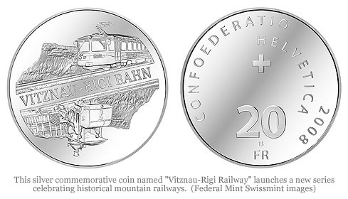 "Swiss Silver Commemorative Coin ""Vitznau-Rigi Railway"""