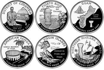 2009 The District of Columbia /& US Territories Quarter Program Complete Set