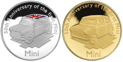 2009 Mini 50th Anniversary £10 Silver and £1 Gold Proof Coins