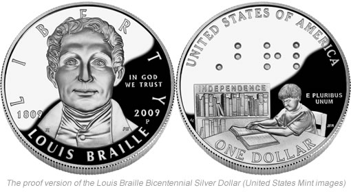 2009 Proof Louis Braille Bicentennial Silver Dollar