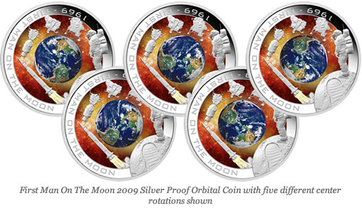 First Man On The Moon 2009 Silver Proof Orbital Coin