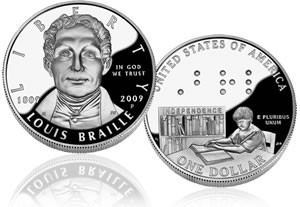Proof Louis Braille Silver Dollar Coin
