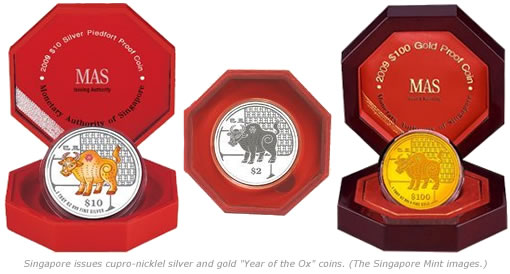 "Singapore Issues cupro-nickel, silver and gold ""Year of the Ox"" coins."