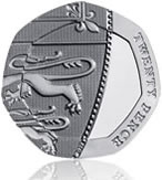 UK 20p coin, reverse side