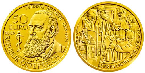 Austria 2009 50 Euro Theodor Physician Billroth Gold Coin