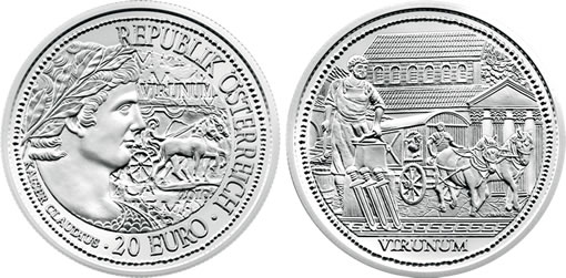 Austria 2010 20€ Rome On The Danube Virunum Silver Coin