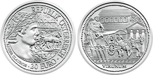 Austria 2010 20€ Rome On The Danube Virunum Silver Coin