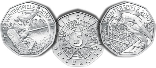 Austrian 5 Euro Snow-Boarding and Ski-Jumping 2010 Winter Games Silver Coins