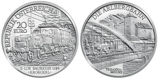 Austrian Railways Electric Train Silver Commemorative Coin