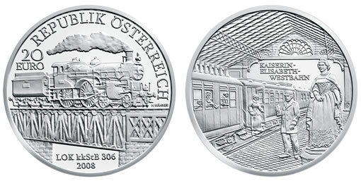 "Austrian Railways Fourth Silver Commemorative, "" Empress Elisabeth West Railway"""